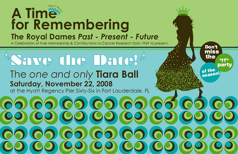 A Time for Remembering Tiara Ball Save the Date card